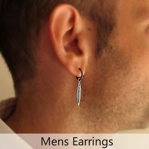 Mens Earrings - Hoops for men, feather earrings, stud mens earrings, cross mens earring
