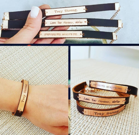 personalized leather bracelets