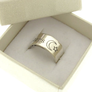 Engraved Sterling Silver Star Moon Ring