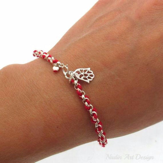 Red string kabbalah Jewelry Hamsa charm