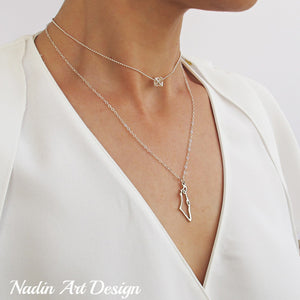 Israel Map Silver Necklace