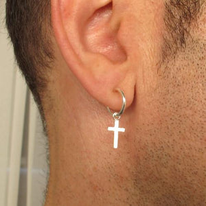 Sterling Silver Hoop Earring with Cross