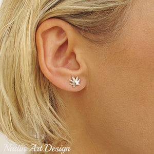 Sterling Silver Cannabis Studs