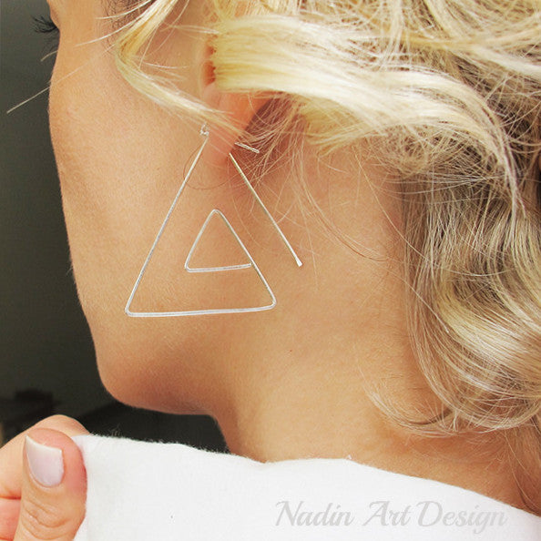 Spiral silver triangle earrings