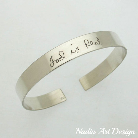 Handwriting engraved silver cuff