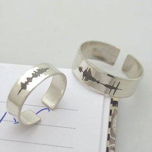 Custom Sound wave Couple Rings Set
