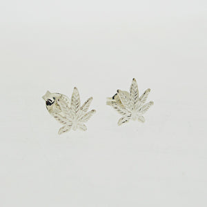Hemp Earrings - Sterling Silver Cannabis Studs