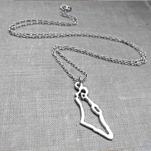 Long Israel Map Silver Necklace - Jewish Gift for her