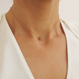 Peace Symbol Gold Choker Necklace