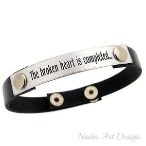Engraved Sterling Silver and Leather Wristband