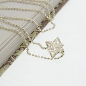Sterling Silver 3d Star of David Pendant Necklace