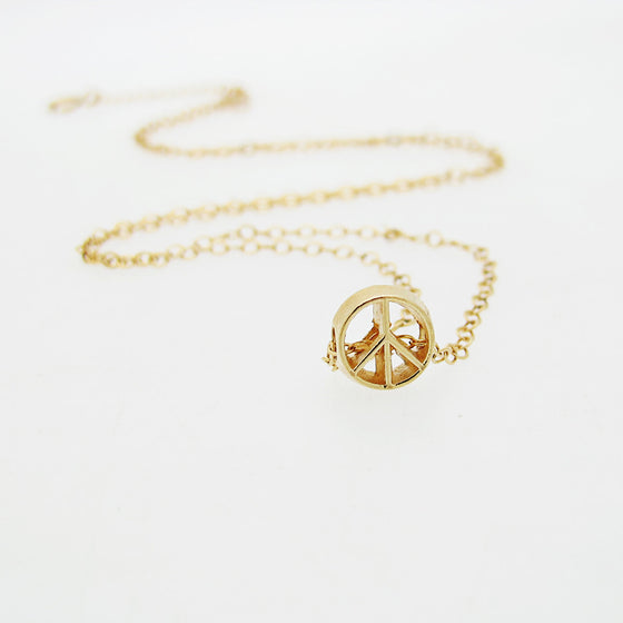 Peace Pendant - Gold Filled Choker - Minimalist Necklace - free shipping