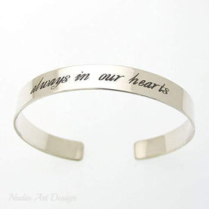 Positive Custom Engraved Bracelet - Always in my heart bracelet