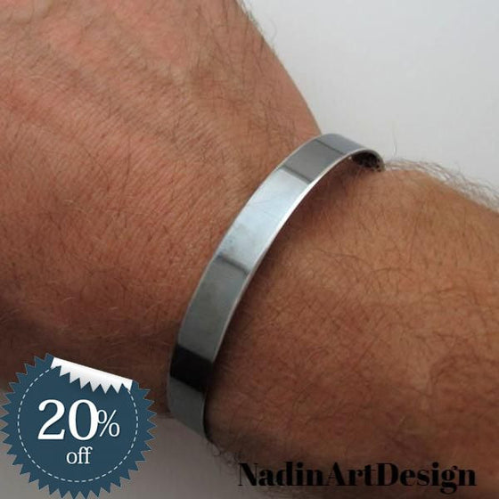 Custom Black Cuff Bracelet for Men