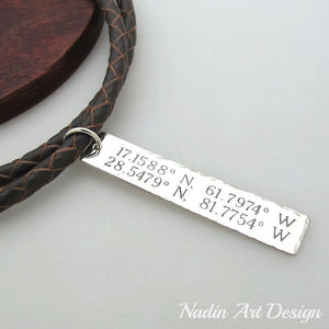 ID tag engraved cord necklace
