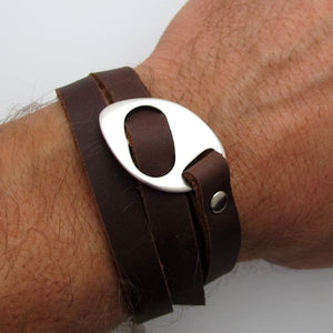 Leather Wrap Bracelet for Men - Gray Bracelet