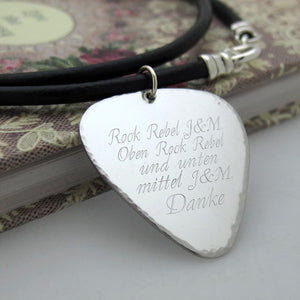 Custom Guitar Pick Necklace - Musician Gift