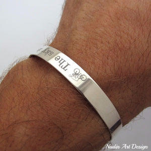 Silver Cuff Custom engraved for men gift
