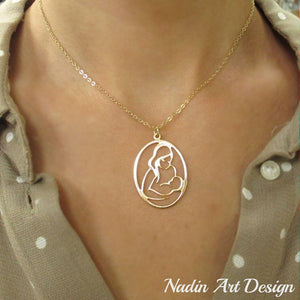 Mother child gold necklace - Mom Gift - Mom Pendant