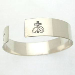 Cross Engraved Mens Bracelet - Sterling Silver Mens Jewelry - Personalized Mens Cuff