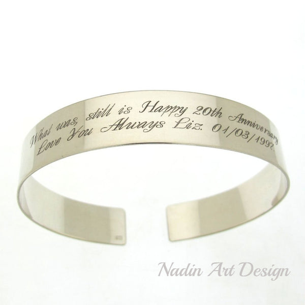 Text engraved silver bracelet