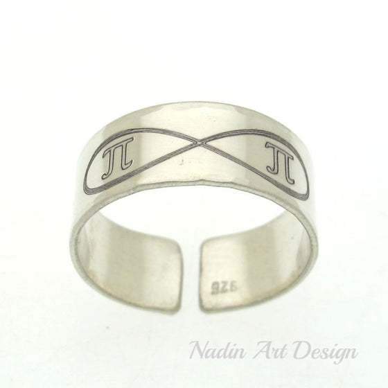 Infinity initials silver band ring