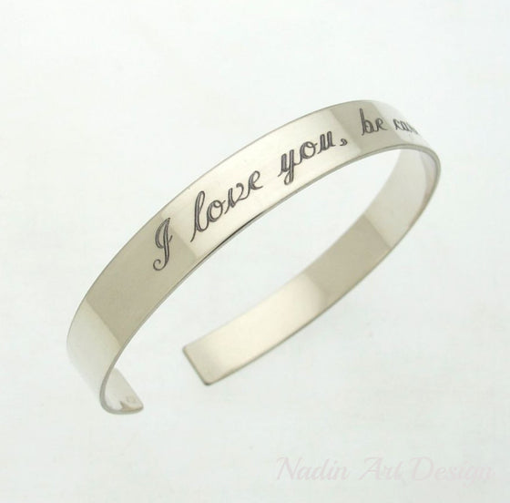 Engraved silver cuff
