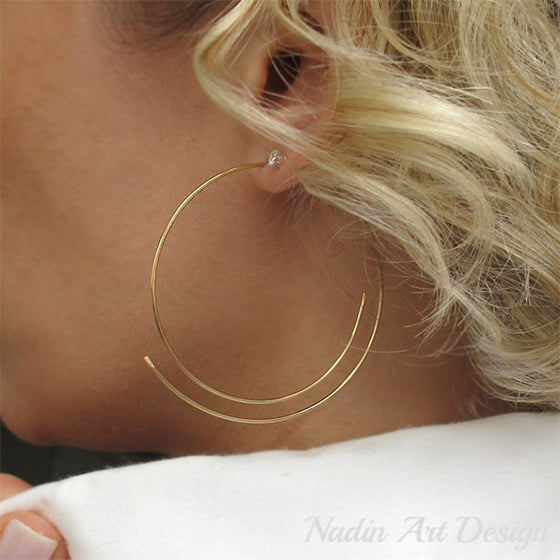 Gold threader hoop earrings
