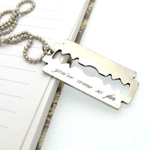 Custom Razor Blade Pendant Necklace for Men