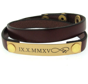 Personalized Infinity Leather Bracelet
