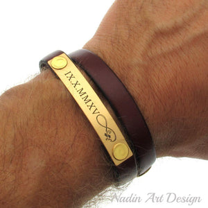 ID engraved leather bracelet