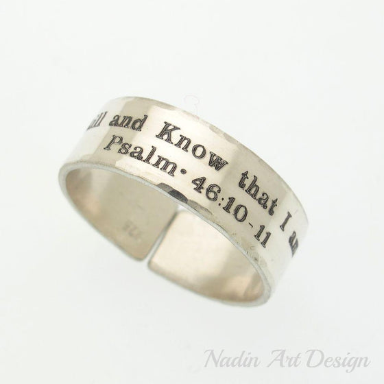 Psalm Ring - Custom silver ring - Personalized Jewish Ring