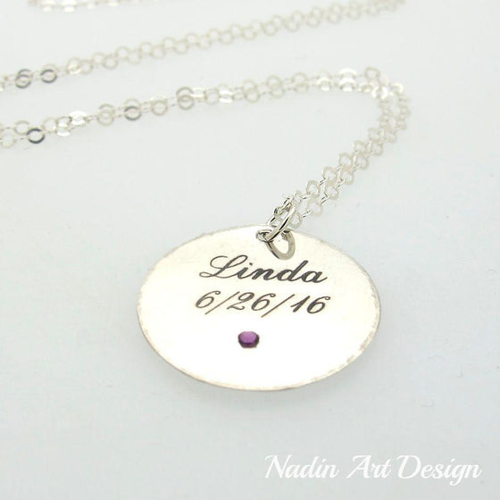 Birthstone name silver necklace