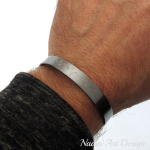 Heart Beat cuff bracelet for Men - Black Cuff for men - Doctor gift