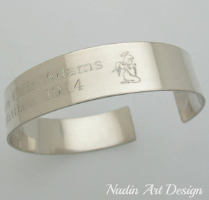 Silver cuff engraved bereavement gift - Angle engraved cuff
