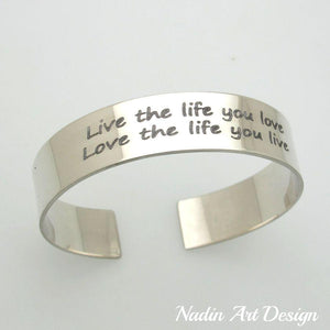 Engraved wide silver cuff