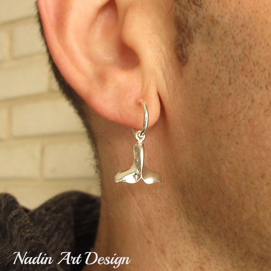 bb2611456b218 Sterling Silver Whale Tail Earring for Men - Men's Jewelry ...