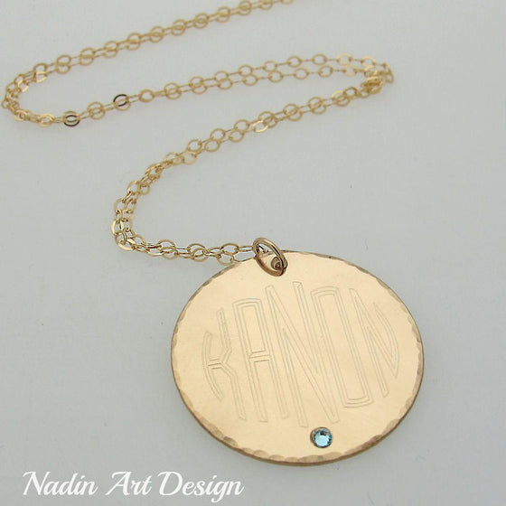 Monogram Initials Necklace - Gold Filled Jewelry