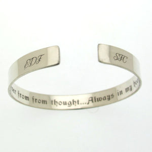 Hidden message bracelet for him - Initials Sterling Silver Cuff Bracelet