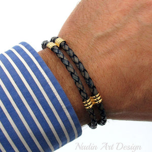 Magnetic Clasp Braided Leather Bracelet - Blue Leather Bracelet for men