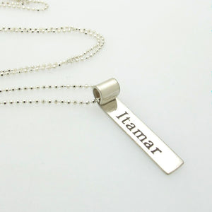 Silver Tag Pendant with Name for Men