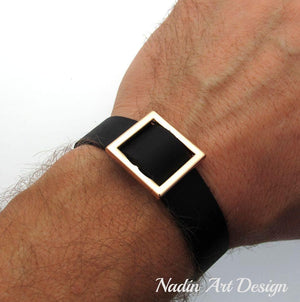 Square leather bracelet