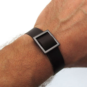 Square Leather Bracelet for Him