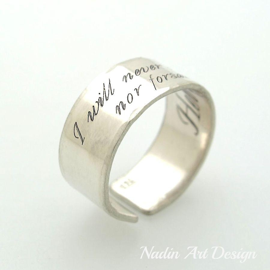 Custom Text Ring Personalized Sterling Silver Ring