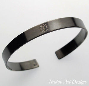 Black engraved cuff bracelet for women - remember jewelry
