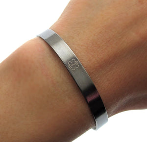Black Medical Alert Cuff Bracelet - Medical symbol engraved