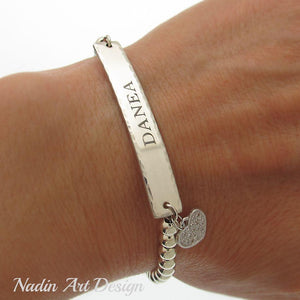 Engraved bead name bracelet