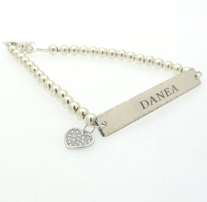 Personalized Heart Charm Bracelet for Mom