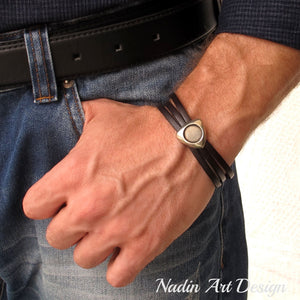 Initials Leather Bracelet for Men