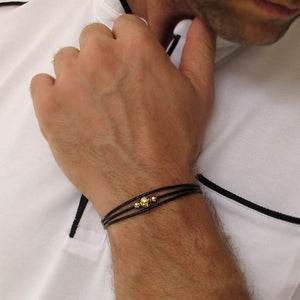 Black Leather Cord Bracelet for Men